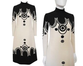 Louis Féraud Rare 1960s Vintage Space Age Dress Mod Graphic Print Cream Black US Size 4-6 XS-S