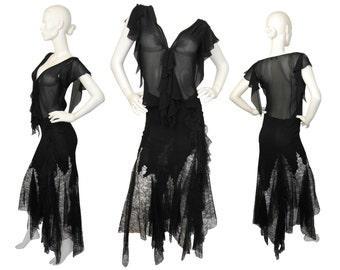 GIANNI VERSACE Couture 1990s Vintage Ensemble Silk Lace Set Blouse Maxi Skirt Black US Size 6 Small