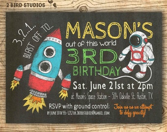 Rocket birthday invitation in chalkboard style for an outer space birthday party- Astronaut printable invitaion - DIY party