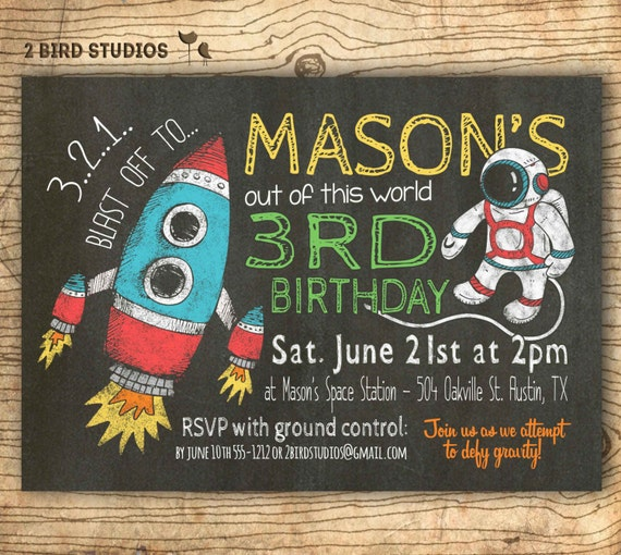 Rocket birthday invitation in chalkboard style for an outer space