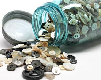 Vintage Blue Mason Quart Jar Filled with Vintage Neutral Buttons*Cottage Chic Decor