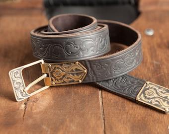 "20% DISCOUNT! Men's Embossed Leather Belt ""Knight of Fortune""; Medieval Belt;"