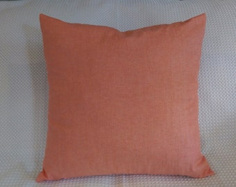 FREE shipping! Set of TWO Solid Coral Pillow Cover - 16x16 Coral Pillow Cover- coral Wedding -Peach Cushion Cover-coral throw pillow 16x16