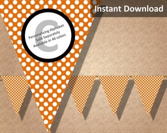 Orange Polka Dot Halloween Bunting Pennant Banner Instant Download, Party Decorations