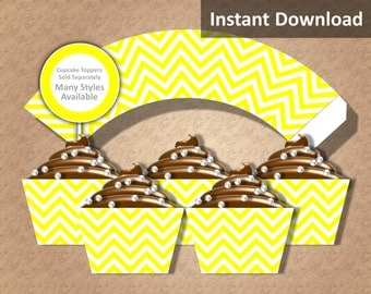 Yellow Chevron Cupcake Wrapper Instant Download, Party Decorations