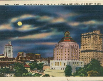 Asheville at Night - linen postcard, colorful image, paper ephemera, New York, retro travel souvenir