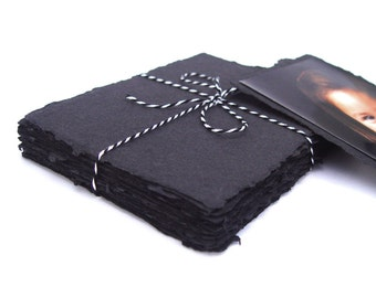 Handmade black paper, recycled, deckle edge, 10 sheets, 4.5 x 6.5 inch