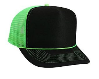 Custom Vinyl Black and Neon Green Foam Trucker Mesh Back Hat Snapback