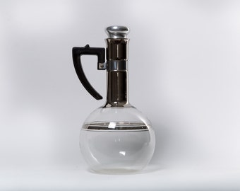 Silver Glass Pitcher Slim Neck Tall Deco Handle Bakelite Decanter Atomic Coffee Service