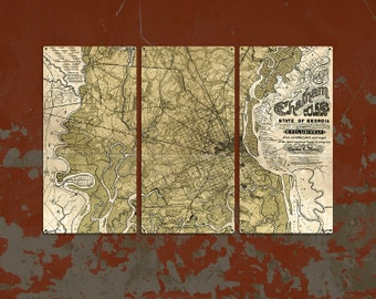 Chatham County Georgia METAL Map Triptych FREE SHIPPING