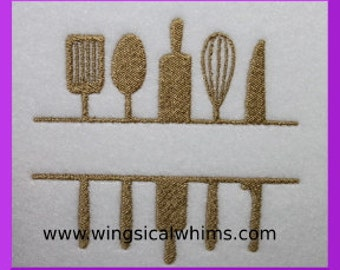 Kitchen Utensils Split Design Digitized Machine Embroidery Cooking Towel