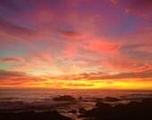 Pacific Coast Sunset photo, Sunset photo card, Pacific photo card, Pacific Sunset photo card