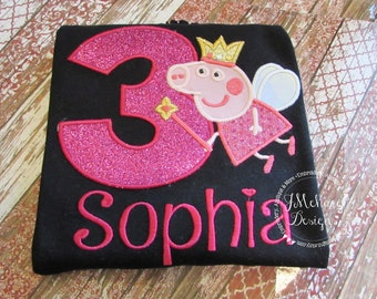 Fairy Princess Peppa Pig Birthday Custom Tee Shirt - Customizable -  Infant to Youth 101