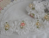 6 White Shabby Chic Pearl and Flower Rosettes 2.5""