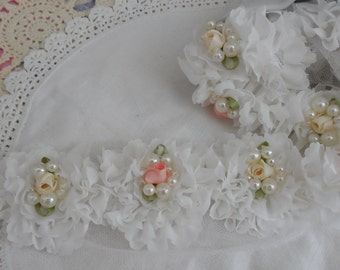 """6 White Shabby Chic Pearl and Flower Rosettes 2.5"""""""