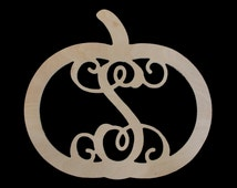 Monogrammed Wood Pumpkin - Nice Addition for the Holidays and Gift Giving Season !