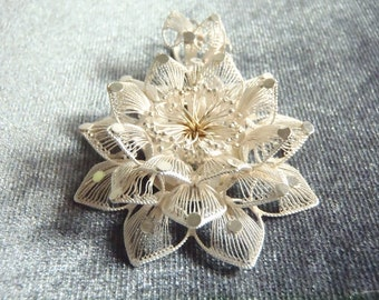 Sterling Silver Large Fancy Flower Pendant P118