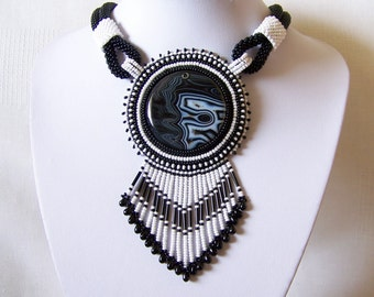 Statement Bead Embroidery Necklace  - Pendant Beadwork Necklace with with Agate - DAY AND NIGHT - black - white - classic necklace