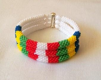 3 Strand Bead Crochet Rope Bracelet in white, blue, green, yellow and red - Beadwork bracelet - beaded jewelry - beaded bracelet
