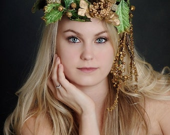 Woodland Floral Crown Headpiece of holly and gold - 109