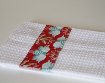 Kitchen towel white with blue and red designs, cotton fabric