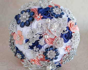 Brooch bouquet. Coral, Navy Blue, White and silver wedding brooch bouquet, Jeweled Bouquet. Made upon request