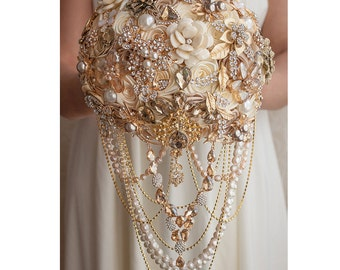 Bridal Bouquet, Brooch Bouquet, Wedding Bouquet, Champagne Bouquet Gold, Ivory, Cream Bouquet, Jewelry Bouquet, Quinceanera Keepsake Bouquet