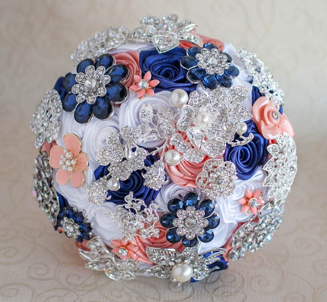 Navy Blue And Silver Wedding Ideas: Brooch Bouquet. Coral Navy Blue White And Silver Wedding