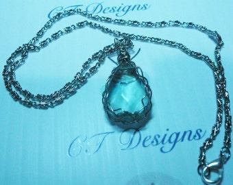 Necklace wire wrapped Aquamarine Pendant