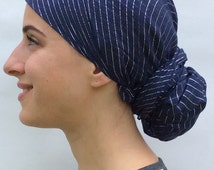 Navy Blue Head Wrap 100% cotton with lurex lines Hijab, Tichel, Snood