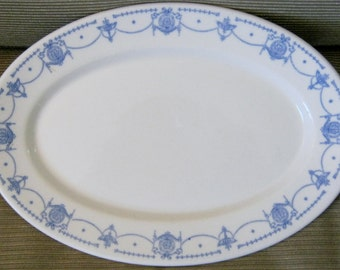Syracuse China Adam Blue Platter Restaurant Ware Vintage Diner Ware Classic Blue and White