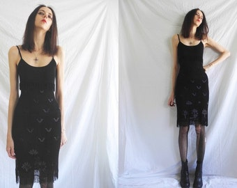 90's goth /grunge black cotton crocheted fitted dress with fringing and beading