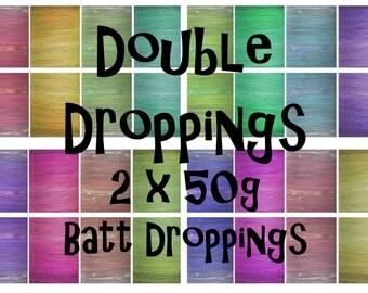 Spinning batts - 2 x 50g batts - 3.5oz - Batt Droppings - DOUBLE DROPPINGS