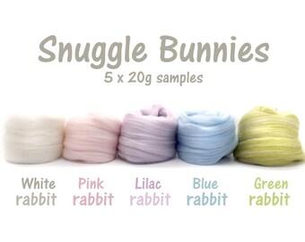 Spinning Fibre - Blended tops - Micro blend - Merino wool - Faux cashmere, milk protein, silk, firestar - 100g - 3.5oz - SNUGGLE BUNNIES