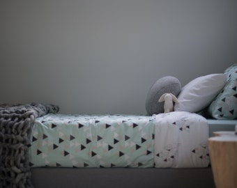 Mint Geo Bunny Toddler Duvet Cover - Mint, Black, White Triangles with Bunnies Comforter Cover for Crib or Toddler Bed in Organic Cotton