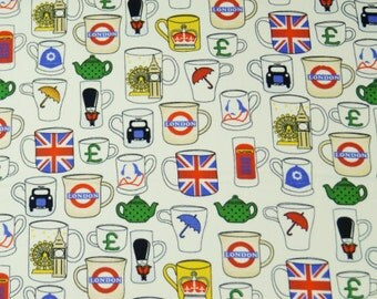London Tea Pots Cups Gifts Memorabilia United Kingdom Union Jack Ivory Fabric Craft