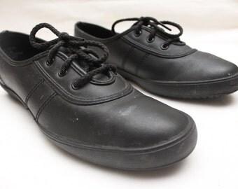 "Rare 90's Vintage ""GRASSHOPPERS"" Black Leather Canvas Sneakers Sz: 7.5 (Women's Exclusive)"
