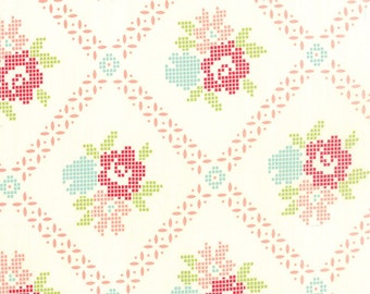 MODA Vintage Picnic Mayberry Mum Cream Coral 55120 17 HALF YARD by Bonnie and Camille