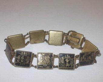 Vintage Egyptian Damascene Bracelet K24, Ethnic Tribal Panel Bracelet
