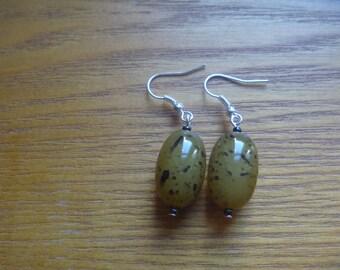 patterned beaded drop earrings, ecofriendly dangle earrings
