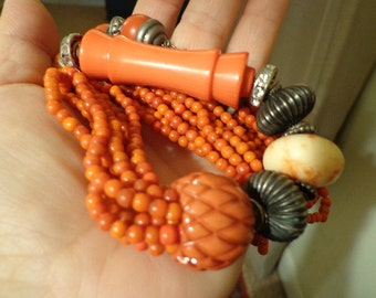 Italian Designer signed Torsade Faux Coral Large and Showy