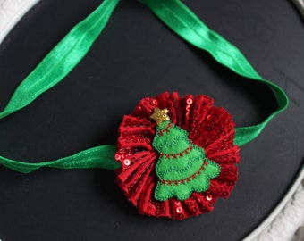 CHRISTMAS Red with Clear Sparkle Sequin Chiffon Shabby Chic Flower with Felted Tree Accent with Golden Star on Green Elastic Headband