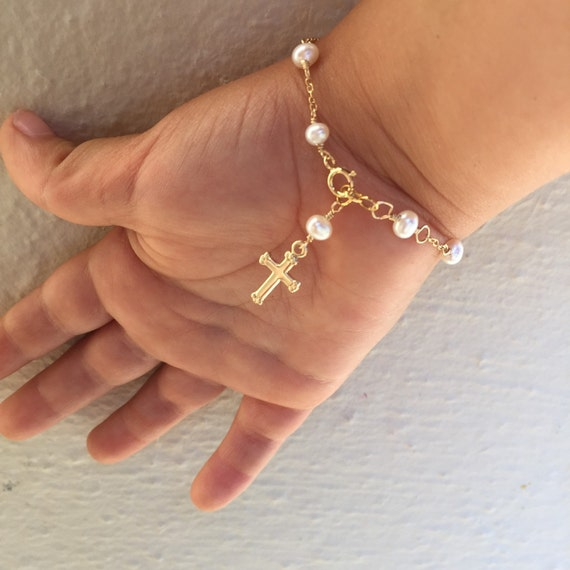 Baby Bracelet Gold Cross Baby Bracelet Gold Baptism Jewelry