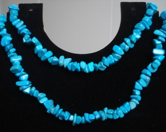 Vintage Long Turquoise Beaded Necklace