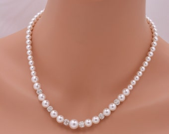 Pearl and Rhinestone Bridal Necklace, Swarovski Pearl Necklace, Full Pearl Strand Necklace, Ivory or White Pearl Wedding Necklace 0289