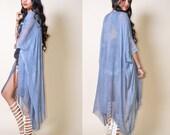 Silky Semi Sheer Draped Cape Minimalist Kimono Jacket Rose Pink Blue Simple Quality Fabric Saldana Vintage
