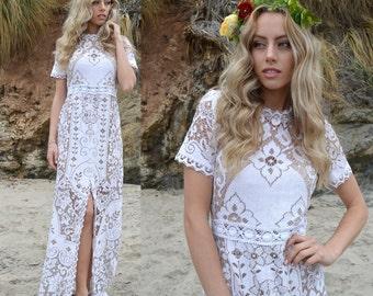 Vintage Sheer Scallop Two Tone Lace Front Slit Hippie Boho WEDDING Maxi Dress