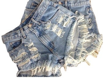 Destroyed Denim Shorts, Fully Distressed,Vintage Jean Shorts, Jean Shorts, Denim Shorts, Vintage Shorts, Summer, Festival Season, Coachella