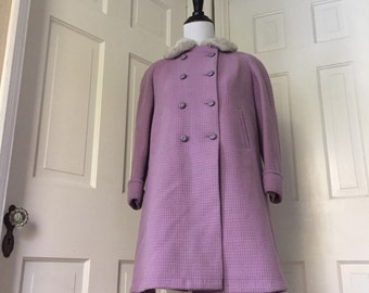 50's or 60's girl's waffle knit lavender wool pea coat