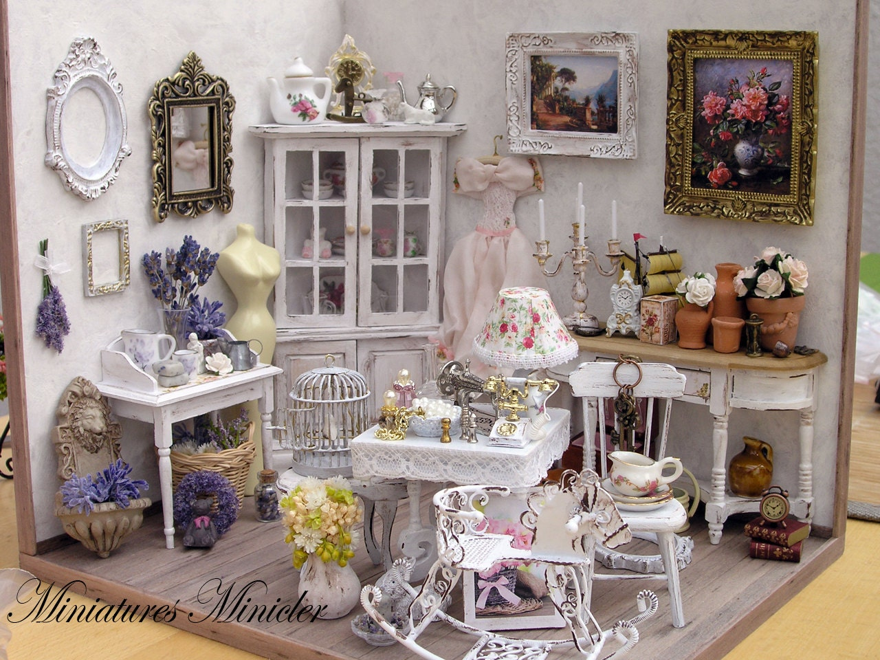 miniature dollhouse parisian antique shop shabby chic style. Black Bedroom Furniture Sets. Home Design Ideas